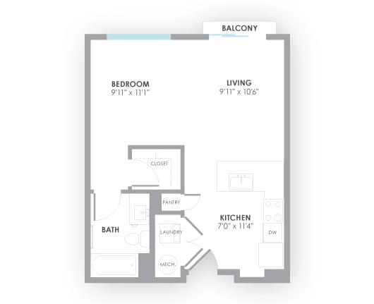 Floor Plan  Surge Floor Plan at AMP Apartments, Louisville, Kentucky