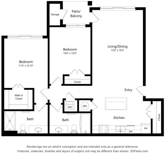 Floor Plan  Two bedroom Two bathroom Floor Plan at South Range Crossings, Colorado