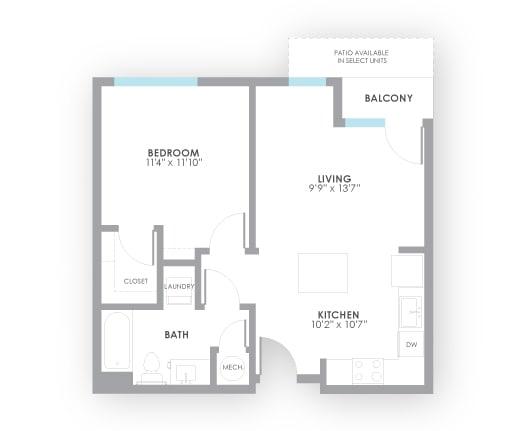 Floor Plan  Volt Floor Plan at AMP Apartments, Louisville, KY