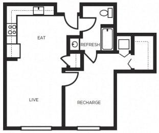 One  bedroom Floor Plans l 777 Broadway Apartments in Oakland