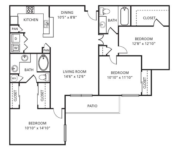 Floor Plan  H1 Floor Plan at Providence Uptown, Houston, TX, 77056