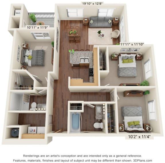 Three Bedroom - C1 (60%) Floor Plan at South Range Crossings, Parker, Colorado
