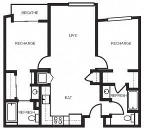 one bedroom floor plan  l 777 Broadway Apartments in Oakland