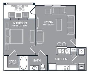 One-Bedroom Floor Plan at Mansions at Spring Creek, Garland