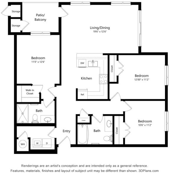 Floor Plan  3 Bedroom and 2 Bath Floor Plan at South Range Crossings, Colorado