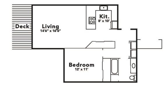 Floor Plan  black and white 1x1 floor plan layout