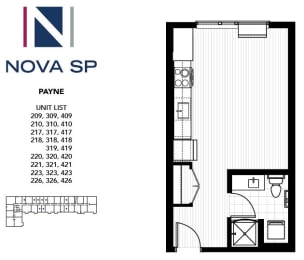 Floor Plan  Zero Bed one Bath Payne Floorplan at Nova SP Apartments, St Paul, Minnesota