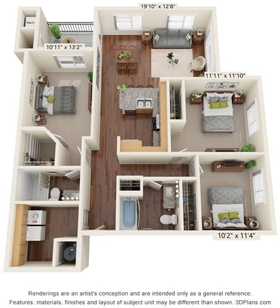 Three Bedroom - C2 (60%) Floor Plan at South Range Crossings, Parker