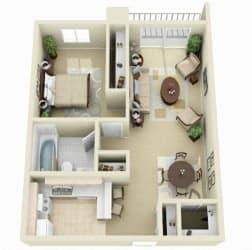 One Bedroom One Bath, 825 sq. ft. Floor Plan at Dover Hills Apartments in Kalamazoo, MI