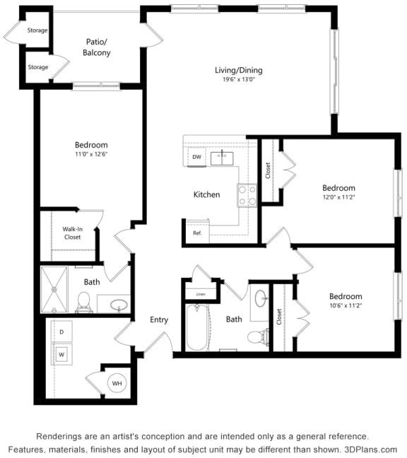 Floor Plan  Three Bed Two Bath Floor Plan at South Range Crossings, Colorado, 80134