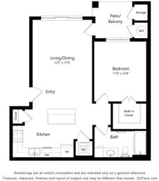 1 Bedroom 1 Bath Floor Plan at South Range Crossings, Parker, CO, 80134