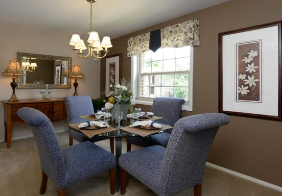 Dining room at Painters Mill Apartments