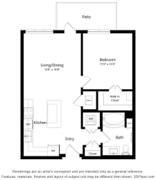 Floor Plan  Brighton Oaks_1 Bedroom Floor Plan_1A