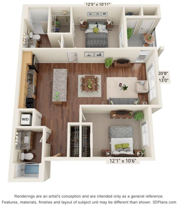 Two Bedroom - B2 (60%) Floor Plan at South Range Crossings, Colorado