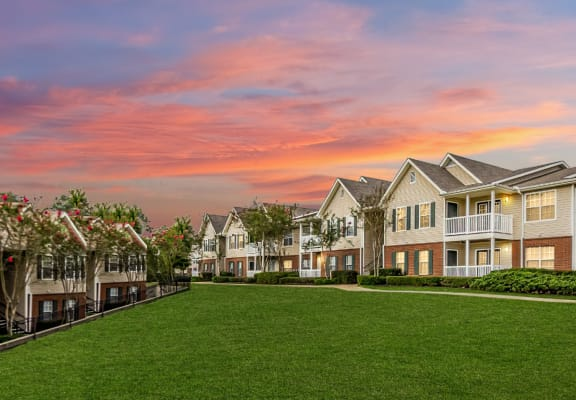 Lawn view of The Reserve at Byram apartment complex.