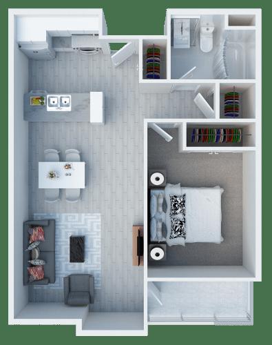 Floor Plan  One bedroom floor plan l Somerset Apartments in Antioch CA