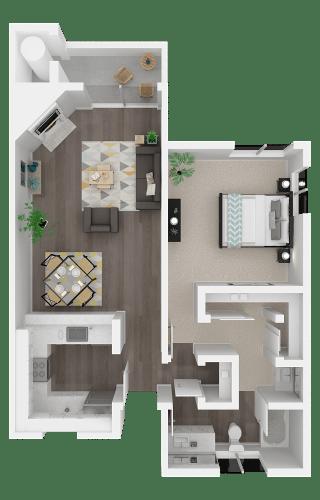 Floor Plan  One bedroom floor plan l Ellington Apartments in Davis CA