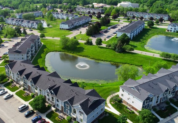 Scenic Pond Views at The Crossings Apartments in Grand Rapids, Michigan