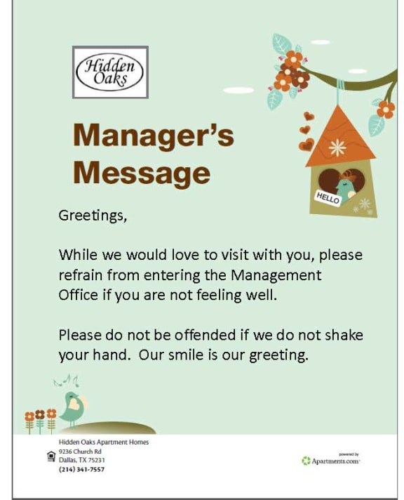 Image of a message from the manager
