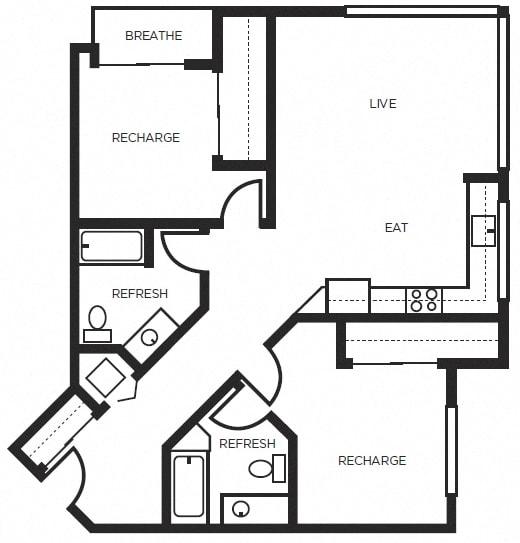 Floor Plan  one bedroom floor plan  l 777 Broadway Apartments in Oakland