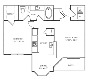 A2 Floor Plan at Providence Uptown, Houston, 77056