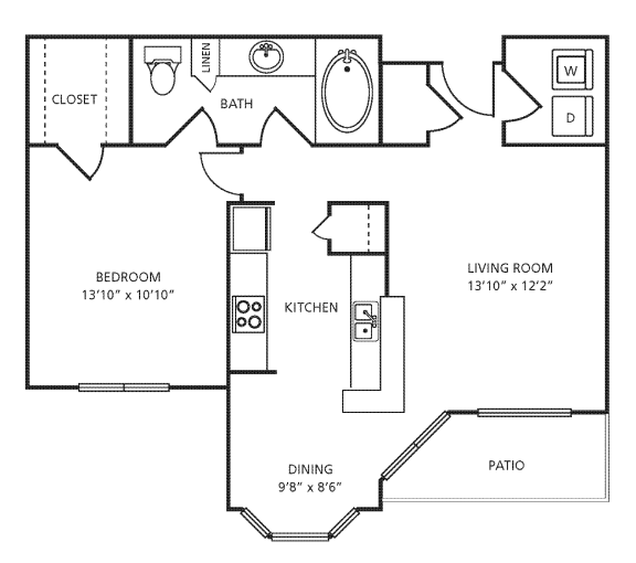 Floor Plan  A2 Floor Plan at Providence Uptown, Houston, 77056