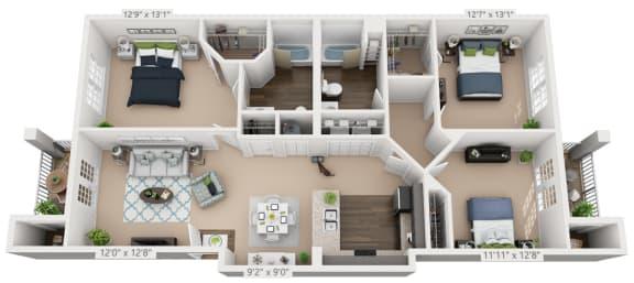 Ardmore at Alcove Three Bedroom, Two Bathroom Floor Plan