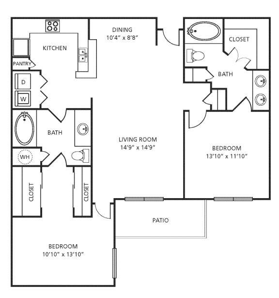 Floor Plan  D4 Floor Plan at Providence Uptown, Texas, 77056