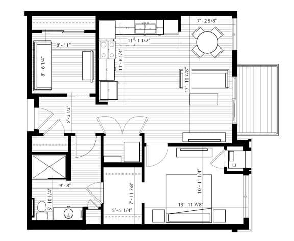 Floor Plan  Ibis Floor Plan at Birdtown Flats, Robbinsdale, Minnesota