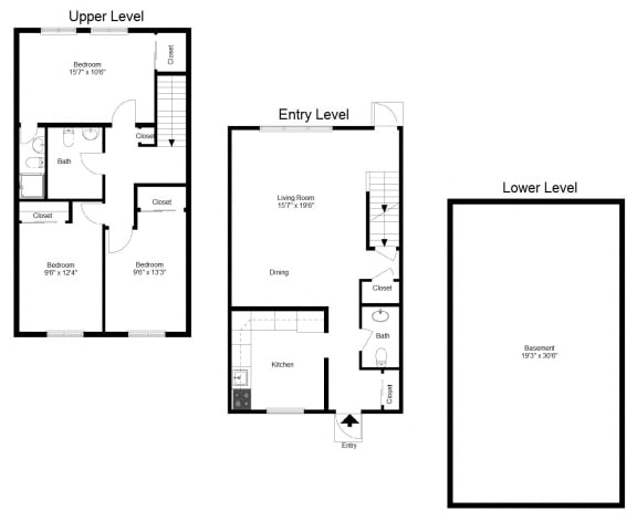 Floor Plan  3 Bedroom Townhouse FloorPlan at Dannybrook Apartments, New York, 14221