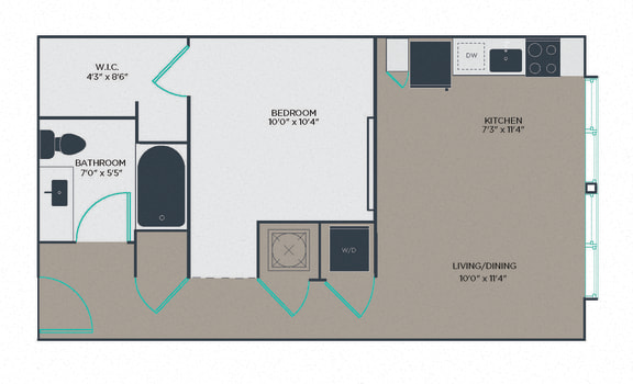 1 Bed 1 Bath Floor Plan at Link Apartments® Innovation Quarter, North Carolina, 27101