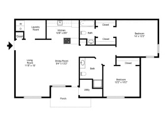 Two Bedroom Apartment at Fetzner Square Apartments & Townhouses, Rochester, NY