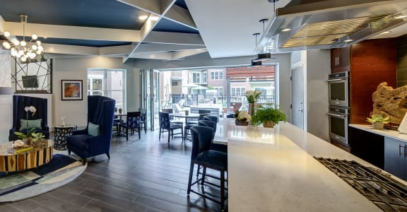 Social pub with seating area, TVs and demonstration kitchen