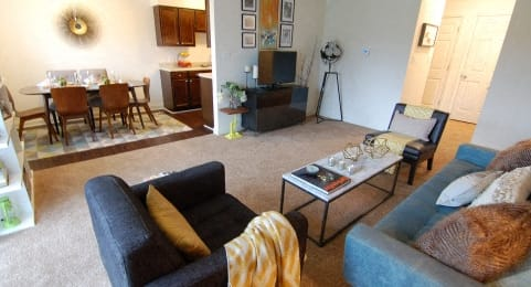 Living Room With Dining Area at Hamilton Square Apartments, Westfield, 46074