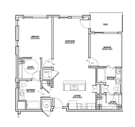 Harvard Floor plan at Cycle Apartments, Colorado