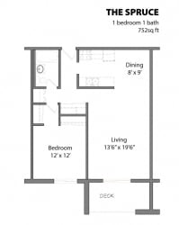 1 Bed 1 Bath The Spruce Floor Plan at Aspenwoods Apartments, Eagan, 55123