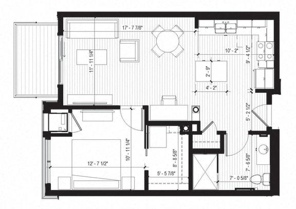 Floor Plan  Wren Floorplan at Bird Town Flats, Robbinsdale