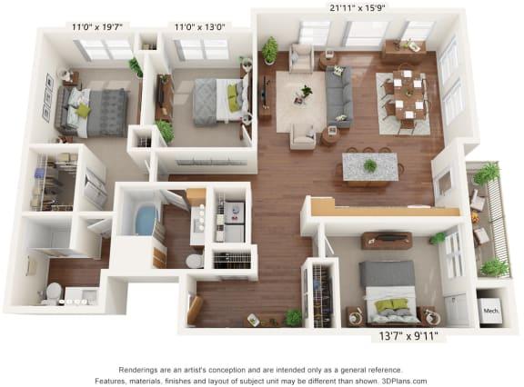 Floor Plan  Bren Road Station_3D_3 Bedroom - A