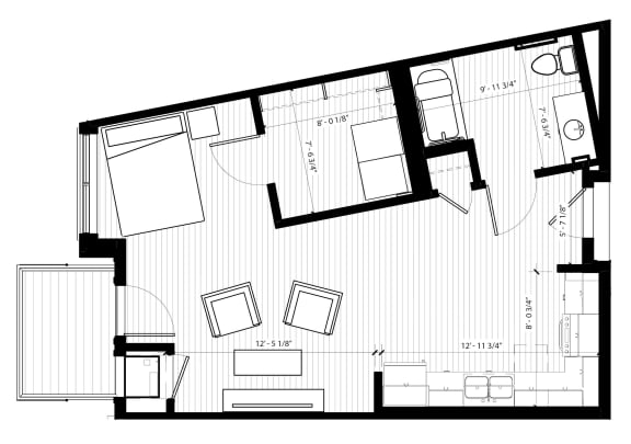Grosbeak Floor Plan at Birdtown Flats, Minnesota