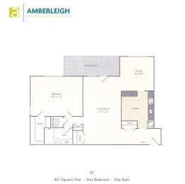 One bedroom, one bath floor plan at Amberleigh apartments in Fairfax, Virginia 22031