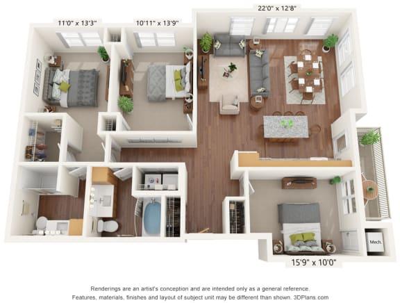 Floor Plan  Bren Road Station_3D_3 Bedroom - B