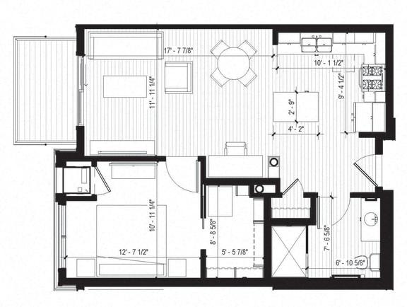 Floor Plan  Warbler Floorplan at Bird Town Flats, Robbinsdale, Minnesota