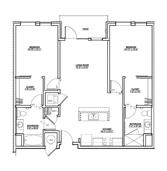 Overland Floor plan at Cycle Apartments, Ft. Collins,Colorado