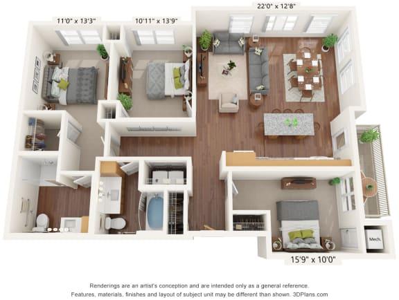Floor Plan  Bren Road Station_3D_3 Bedroom - C-ADA
