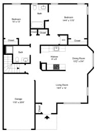Two Bedroon Ranch at Fetzner Square Apartments & Townhouses, Rochester, NY