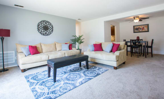 Bright Living Room at The Lodge Apartments, Indianapolis