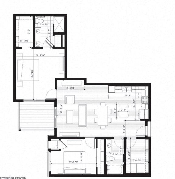 Floor Plan  Egret Floorplan at Bird Town Flats, Robbinsdale, MN