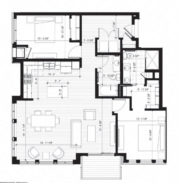 Floor Plan  Brant Floorplan at Bird Town Flats, Robbinsdale, 55422