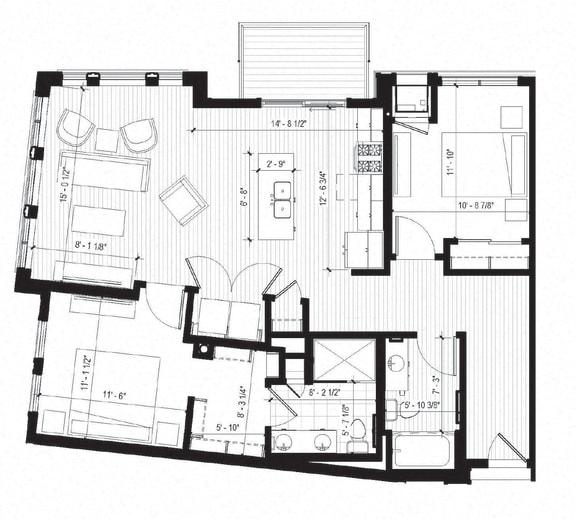 Floor Plan  Loon Floorplan at Bird Town Flats, Robbinsdale