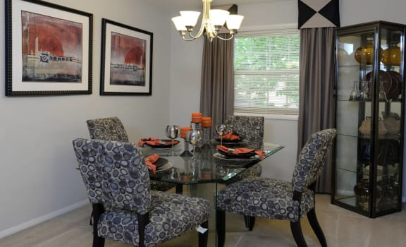 Spacious dining room with bright lighting